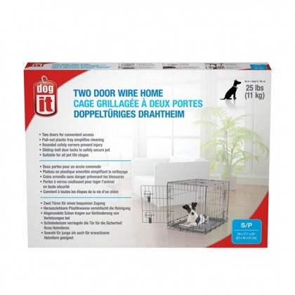 Dogit Two Door Wire Home Crates with divider - Small - 61 x 45 x 51 cm (24 x 17.5 x 20 in) - 90562