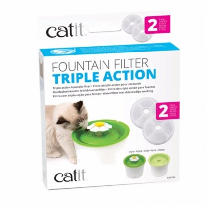 Catit 2.0 Triple Action Fountain Replacement Water Filtering Cartridge - 2-Pack